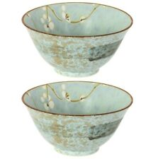 """SET of 2 Japanese Rice Soup Bowl 5.25""""D Porcelain Grey White Ume Made in Japan"""