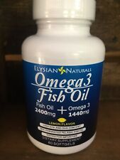 Omega 3 Fish Oil - 2400MG Fishoil/1440 MG Omega 3 - 60 Softgels - Lemon Flavor
