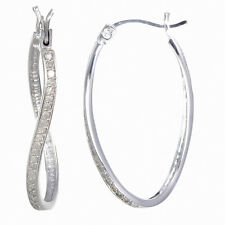 STERLING SILVER DIAMOND HOOP EARRINGS (1/4 CT)