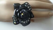 Juicy Couture Black Rhinestone Rose Ring 8