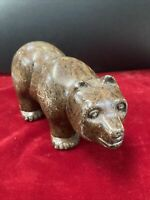 Soapstone Carving Bear Large 1997 Vintage Inuit First Nations Art Carving