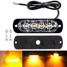 4X Amber 4 LED Car Flash Truck Emergency Beacon Light Bar Hazard Strobe Warning