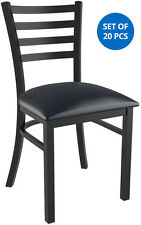 Set of 20 x Metal Ladder Back Restaurant Chair Black Finish and Black Vinyl Seat