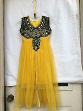 Indian Pakistani  Kids Girls Yellow Net Gown Style Dresses Desi Ethnic Dress