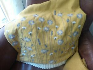Lovely embroidered floral cushions cover mustard pair bought in error 17ins sq.
