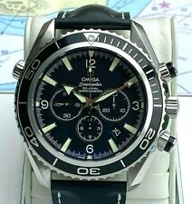 Omega Seamaster Planet Ocean Chronograph 600m Leather Strap Box Paper Men Watch