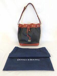 Dooney & Bourke Black & Brown Pebble Leather Drawstring Duffle Purse