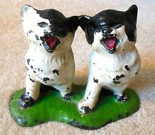 Antique 1920s Cast Iron Cat Doorstop - TWIN BLACK & WHITE KITTENS - All Original