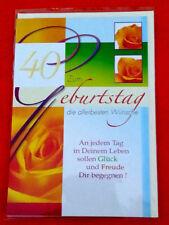 Glückwunschkarte   ZUM GEBURTSTAG  40    die allerbesten Wünsche   Neu