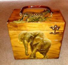 Vintage Wooden Decoupage 3D Vicki Jean Purse African Cosmetic Box Mirror Zebra
