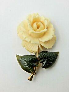 Vintage Krementz Carved Flower Pin / Brooch