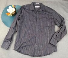 CALVIN KLEIN MEN'S BUTTON DOWN STRIPED LONG SLEEVE SHIRT NON IRON LARGE 1AR20