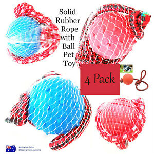 Dog Toy Solid Rubber Rope with Ball 4 Pack Pet Toys Good Quality Durable Play AU
