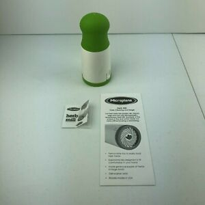 Microplane Herb Parsley Mill Rotary Grinder Grater White & Green, Not Used