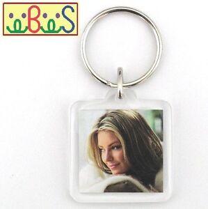 25x Blank Acrylic Keyrings 31x31mm Frame & 25x25mm Photo key ring plastic F1428