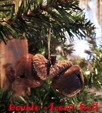 RUSTIC WOODLAND DOUBLE ACORN BELL CHRISTMAS ORNAMENT PRIMITIVE with Gold Hanger