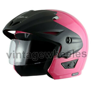 Vega Cruiser W/P Pink Open Face Helmet Equipped With Stylish Sun Peak