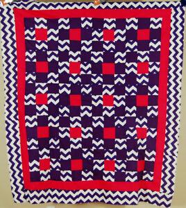 Vintage Nine Patch Antique Quilt Top ~VIBRANT ZIGZAG FABRICS & MINT CONDITION!