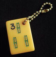Vtg Key Chain, Three Bamboo Tile, Royal Games, Catalin Mahjong Mah Jongg