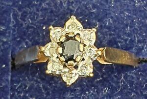A Ladies 9ct Gold Diamond & Sapphire Ring , Size O & a Half