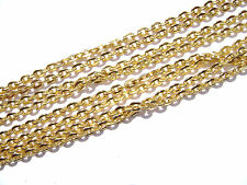 Chain Goldtone Gold plated 3x2mm Oval Flat Links, 5 feet.