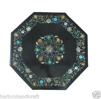 "24"" Marble Side Coffee Table Top Precious Inlay Marquetry Outdoor Art Decor H841"