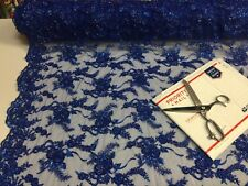Beaded Lace Fabric - Embroidered Mesh With Beads R-Blue Bridal Dress By The Yard