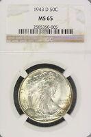 1943-D NGC MS65 Walking Liberty Half Dollar!! #E1354