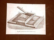 Incisione del 1875 Albori della fotografia Torchietto per le riproduzioni