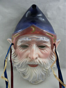 Vintage 1989 Decorative Clay Art Face Mask ~ San Francisco ~ Wizard with Beard
