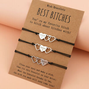 3 Stainless Steel Best Bitches Love Heart Bracelet Card Message Friend Sister UK