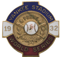"1932 World Series Press Pin New York Yankees Media-Babe Ruth's ""Called Shot""RARE"