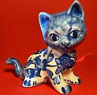 CAT FIGURINE TURKISH FETTAH CERAMIC HAND MADE SIGNED VINTAGE BLUE AND WHITE