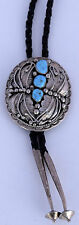 Vintage large & ornate Navajo Sterling silver Turquoise bolo tie by Marie Smith