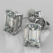 3 Ct Emerald Cut Diamond 14k White Gold Finish Solitaire Stud Earrings