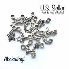 10pcs Lot Wholesale Tibetan Style Silver Charm Beads European Chain Bracelet CA