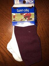 Tck Football Tube Socks Shoe Size 9-12 White With Maroon Top 22� New! Twin City