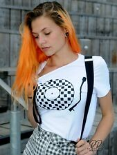Ladies SKA T shirt RECORD DJ tee 2 TWO TONE t-shirt PUNK SKIN HEAD DECKS BNWT