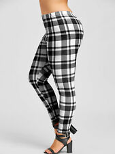 Plus Size XL-5XL Women Lady Leggings Pants Trousers Plaid Checks Bodycon Slim