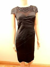 New Lipsy Black Satin Beaded Sequin High Neck Dress Sz UK 8 rrp £70