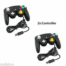 2X BLACK WIRED CLASSIC CONTROLLER JOYPAD GAMEPAD FOR NINTENDO GAMECUBE GC & Wii