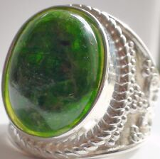 NATURAL CHROME  DIOPSIDE 925 SILVER RING 54.35 ct,VINTAGE JEWELRY. SIZE 7.25