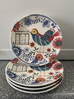 Pier 1 Set of (4) BIRD with Cage Salad Plates Colorful Floral EUC