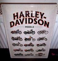 "HARLEY DAVIDSON MODELS CHART  , RETRO 3D METAL WALL SIGN 12.5""X 16"" (41X30cm)"