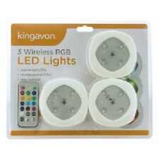 Kingavon 3 Wireless RGB LED Lights Superbright With Remote 13 Colour Change