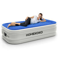 Twin Size Elevated Air Mattress With Built-in Electric Pump & Pillow,Blue-Gray