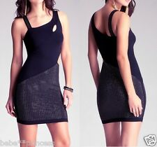 NWT bebe top black silver stud side cutout dress clubbing sexy XXS 00 0 cocktail