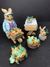 Vintage Mervyn's Bunny Rabbit Figurines Carrot Harvest & Picnic Table Lot Of 5