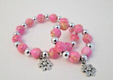 """18"""" Doll and little girl matching bracelets beaded jewelry accessory pink flower"""