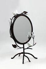 Spiegel auf Metall-Fuß mit Vögel 23 x 14 x 32cm, dunkelbraun,rund Vögel Blätter